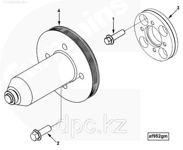 Болт адаптера шкива коленвала (М12x1.75x55) Cummins ISLe 3901859