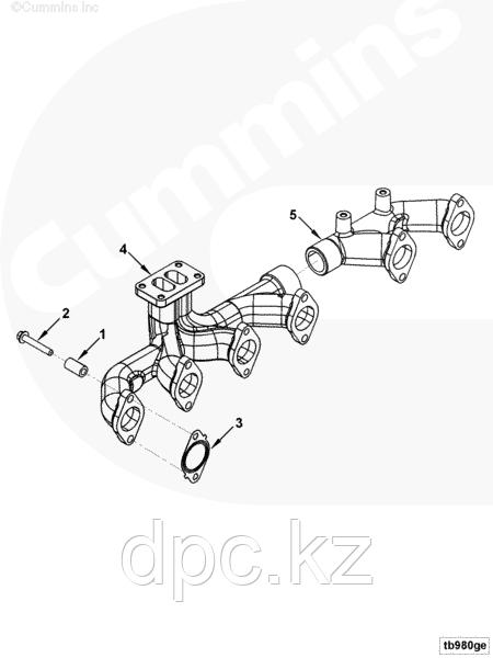 Коллектор выпускной задний 3-6го цилиндра Cummins ISLe 3967751