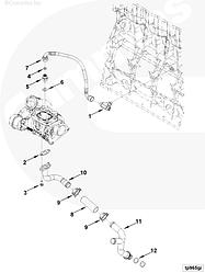 Трубка слива масла с турбины в сборе из трех частей Cummins ISF3.8 5265251