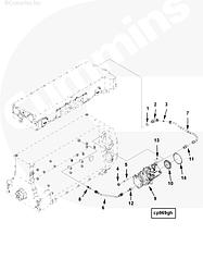Трубка ОЖ воздушного компрессора отводящая Cummins ISG12 3697857 3696285