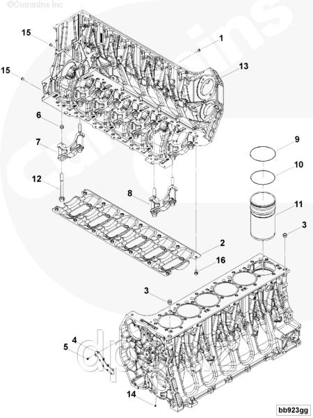 Болт крепления крышки коренного вкладыша Cummins ISG12 3697757