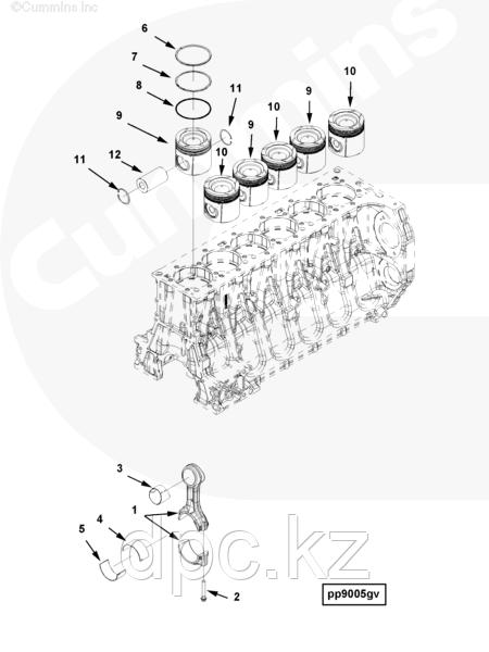 Поршневой комплект Cummins ISG12 4352127