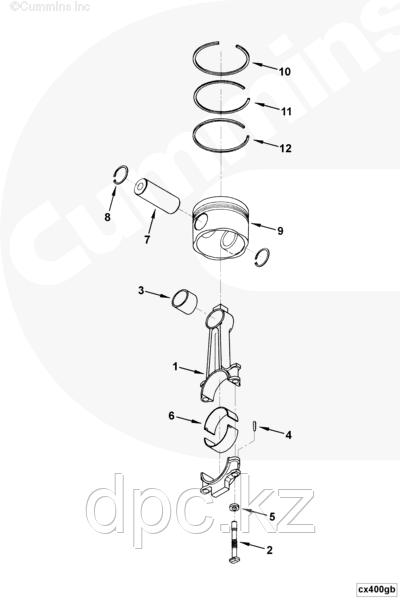 Вкладыш шатунный 0,50 (2-го ремонта) Cummins KTA19 205842