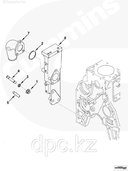 Основание трубы системы охлаждения Cummins 4BT 3977545 5269608