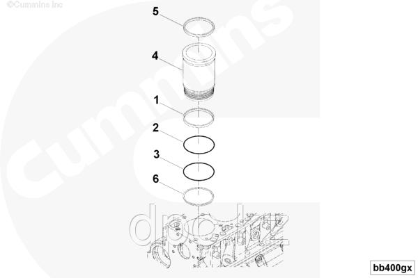 Кольцо уплотнительное гильзы ремонтной Cummins QSK-19 3088298