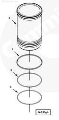Кольцо уплотнительное гильзы ремонтной Cummins QSK23 4006178