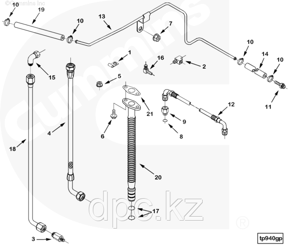 Трубка слива масла с турбокомпрессора Cummins CGE280 GAS PLUS 3933198 3930265