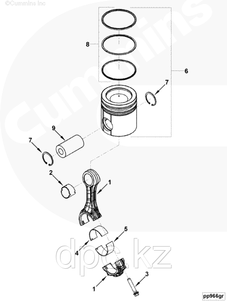 Поршневая группа (комплект на 4 цилиндра) Cummins EQB140-20 EQB125-20 3975390