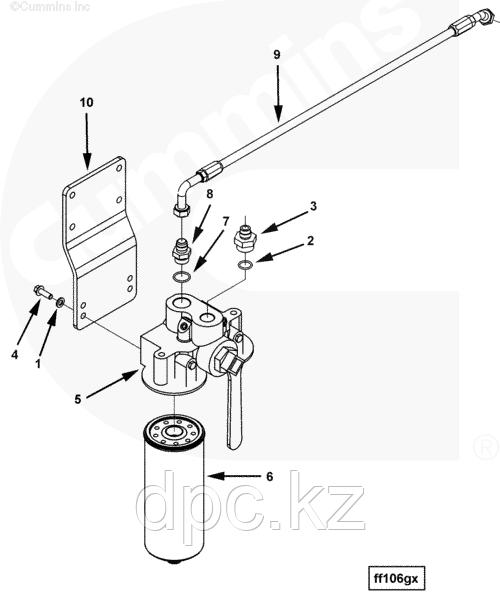 Трубка слива масла с турбины (верхняя, металлическая) Cummins 4BT 3960057