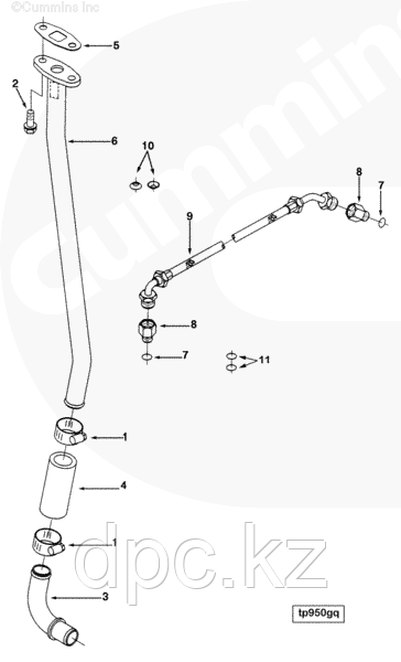 Трубка слива масла с турбины (нижняя, металлическая) Cummins 4BT 3903744