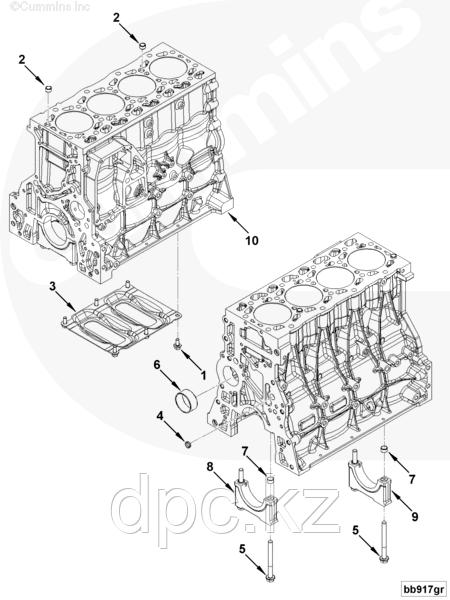 Блок цилиндров Cummins ISF3.8 Евро-4 5289699 5306414 5306412 5289697
