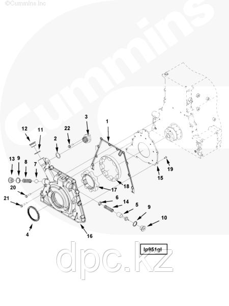 Пластина задняя масляного насоса Cummins ISG12 3696431