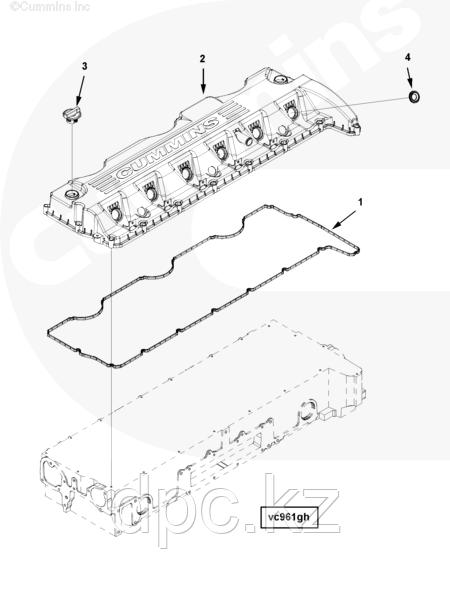 Уплотнение форсунки в клапанной крышке двигателя Cummins ISG12 3697987