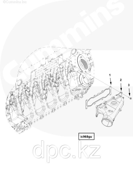 Прокладка патрубка впускного воздушного Cummins ISG12 3695524