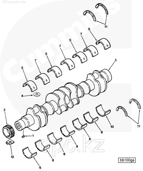 Комплект вкладышей коренных Cummins N14 3801260 3030216