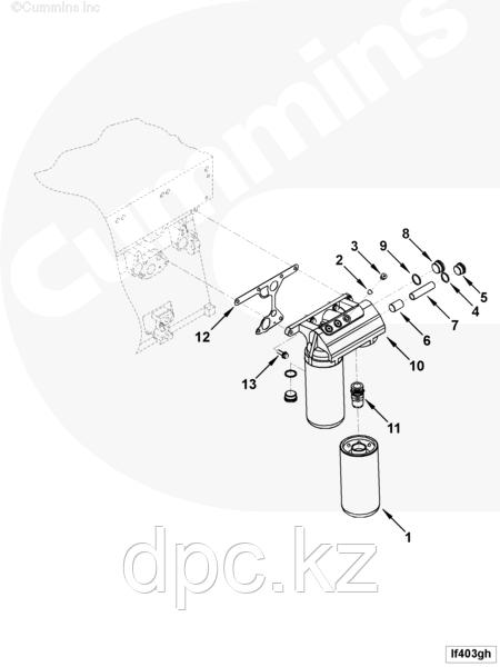 Место установки масляного фильтра Cummins KTA-19 4910285 3200965 3009014 4910284