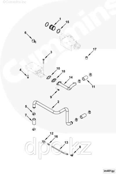 Трубка ОЖ к радиатору короткая Cummins KTA-19 3201401 3201284 3012303