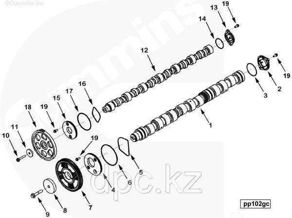 Пластина упорная распределительного вала Cummins ISX QSX 3679930