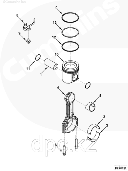 Кольцо поршневое компрессионное 2-ое Cummins ISF 2.8L 4976253