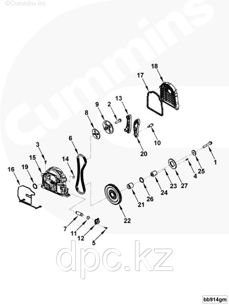 Болт крепления шкива промежуточной шестерни Cummins ISF 2.8 3093940