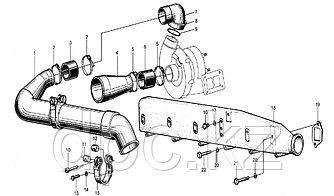 Патрубок турбины Weichai WD615  61560110165