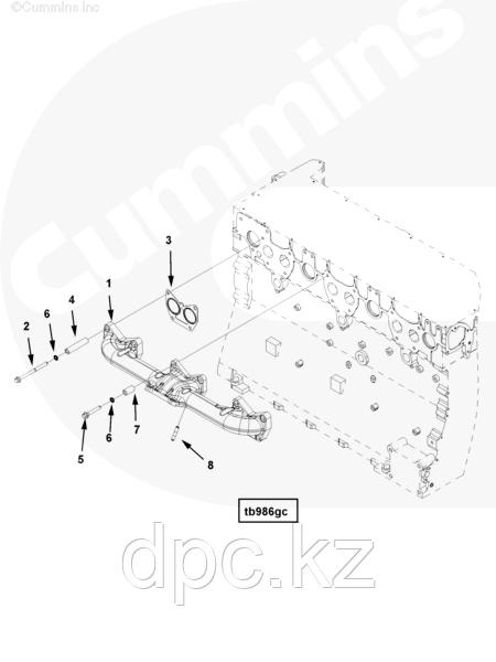 Прокладка выпускного коллектора Cummins ISG12 3697750 3696424
