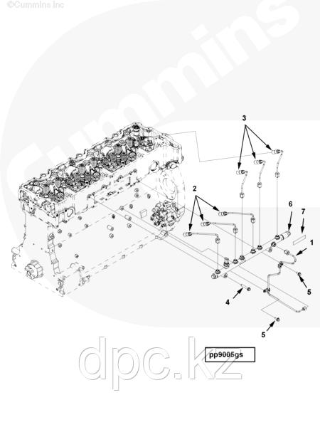 Трубка топливная возврата с рампы Cummins ISG 12 3695683