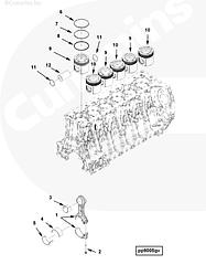 Поршневой комплект Cummins ISG12 4352128