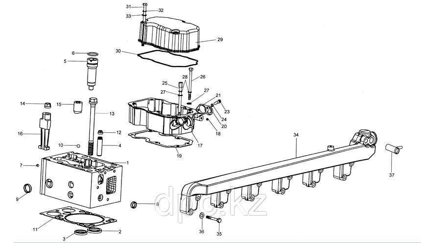 Болт проставки клапанной крышки Weichai WD615 Евро-3 VG1540040024