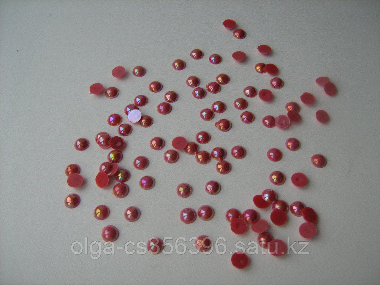 Полубусины-жемчуг(цв.красный-перламутр) 8 мм Creativ 1556  1
