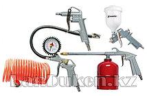 Набор пневмоинструмента, 5 предметов, быстросъемное соед., краскорасп. с верхним бачком 57315 (002)