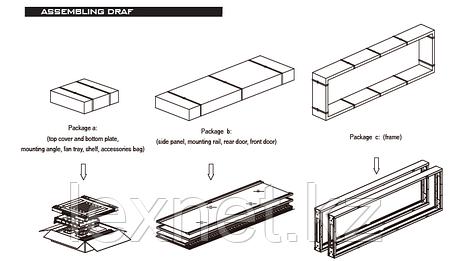 Шкаф напольный 42U, 600*800*2000,  цвет чёрный, передняя дверь стеклянная (тонированная), 3 полки, блок вентил, фото 2