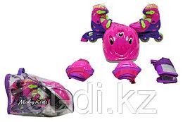 Детский набор коньки роликовые 2 в 1 защита, шлем, пласт.,р.27-29