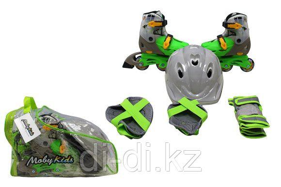 Детский набор Коньки роликовые 2 в 1 + Защита, шлем, пласт.,р.30-33