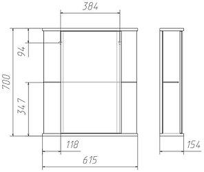 Шкаф-зеркало Каскад 60 левый/правый Домино, фото 2