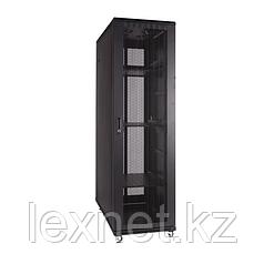 Шкаф напольный 42U, 800*1000*2000,  цвет чёрный,  двери перфорированные