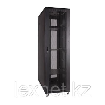 Шкаф напольный 42U, 800*1000*2000,  цвет чёрный,  двери перфорированные, фото 2