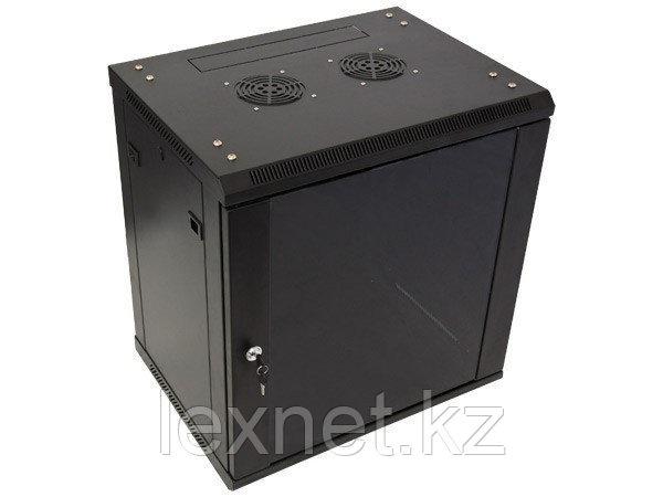 Шкаф настенный 15U, 600*450*766, цвет чёрный, передняя дверь стеклянная (тонированная)