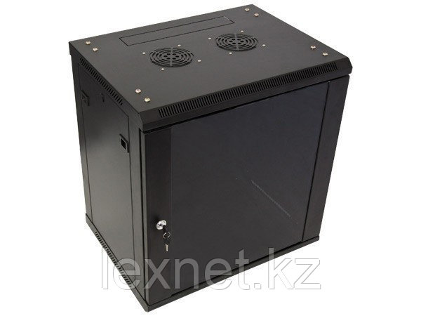 Шкаф настенный 18U, 600*600*901, цвет чёрный, передняя дверь стеклянная (тонированная)