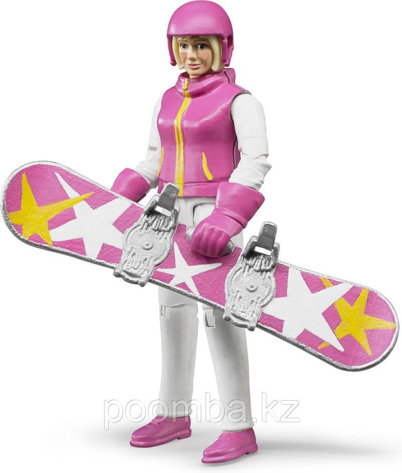 Фигурка сноубордистки с аксессуарами, 15 см