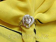 Серебряное кольцо женское с фианитом 16.0 размер
