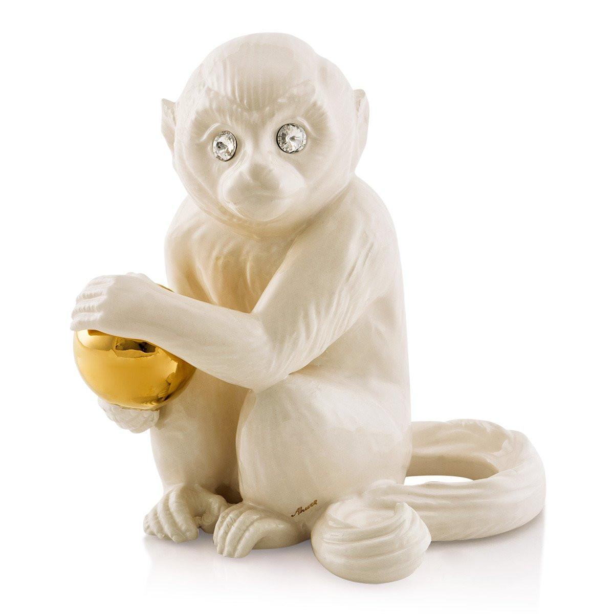 Скульптура Обезьяна с золотым мячом. Ручная работа,Италия