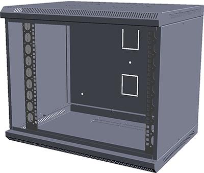 Шкаф настенный МиК 6U, 600*450*360, KEYS, серый, дверь-стекло, фото 2
