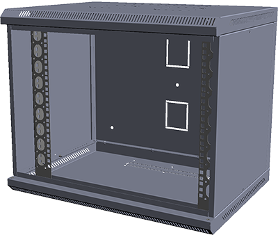 Шкаф настенный МиК 6U, 600*350*360, BASIS, серый, дверь-стекло, фото 2