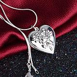 """Медальон на цепочке """"Сердце с розой"""", фото 2"""