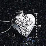 """Медальон на цепочке """"Сердце с розой"""", фото 6"""