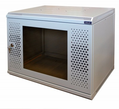 Шкаф настенный МиК 6U, 600*450*360, BASIS, серый, дверь-перфорация+стекло