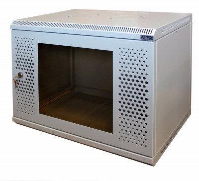 Шкаф настенный МиК 6U, 600*600*360, BASIS, серый, дверь-перфорация+стекло, фото 2