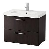 Шкаф для раковины ГОДМОРГОН/БРОВИКЕН с 2 ящ черно-коричневый ИКЕА, IKEA