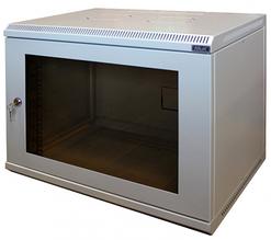 Шкаф настенный МиК 9U, 600*350*500, BASIS, серый, дверь-стекло